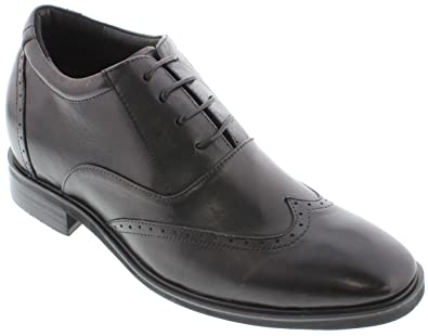 G51123 - 3.2 Inches Taller - Height Increasing Elevator Shoes (Black Lace-up Wing-tip)