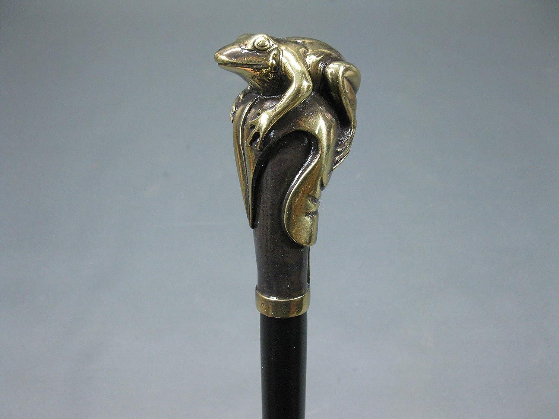 Holz Gehstock mit Bronze Frosch Griff Spazierstock 97 cm Wanderstock Walking Stick
