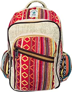 All Natural Pure Himalayan Hemp Multi Pocket Backpack ( THC FREE) with Laptop Sleeve - Fashion Cute Travel School College Shoulder Bag / Bookbags / Daypack