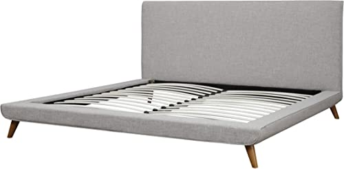Tov Furniture The Nixon Collection Mid-Century Linen Upholstered Wooden Platform Bed, King Size, Beige