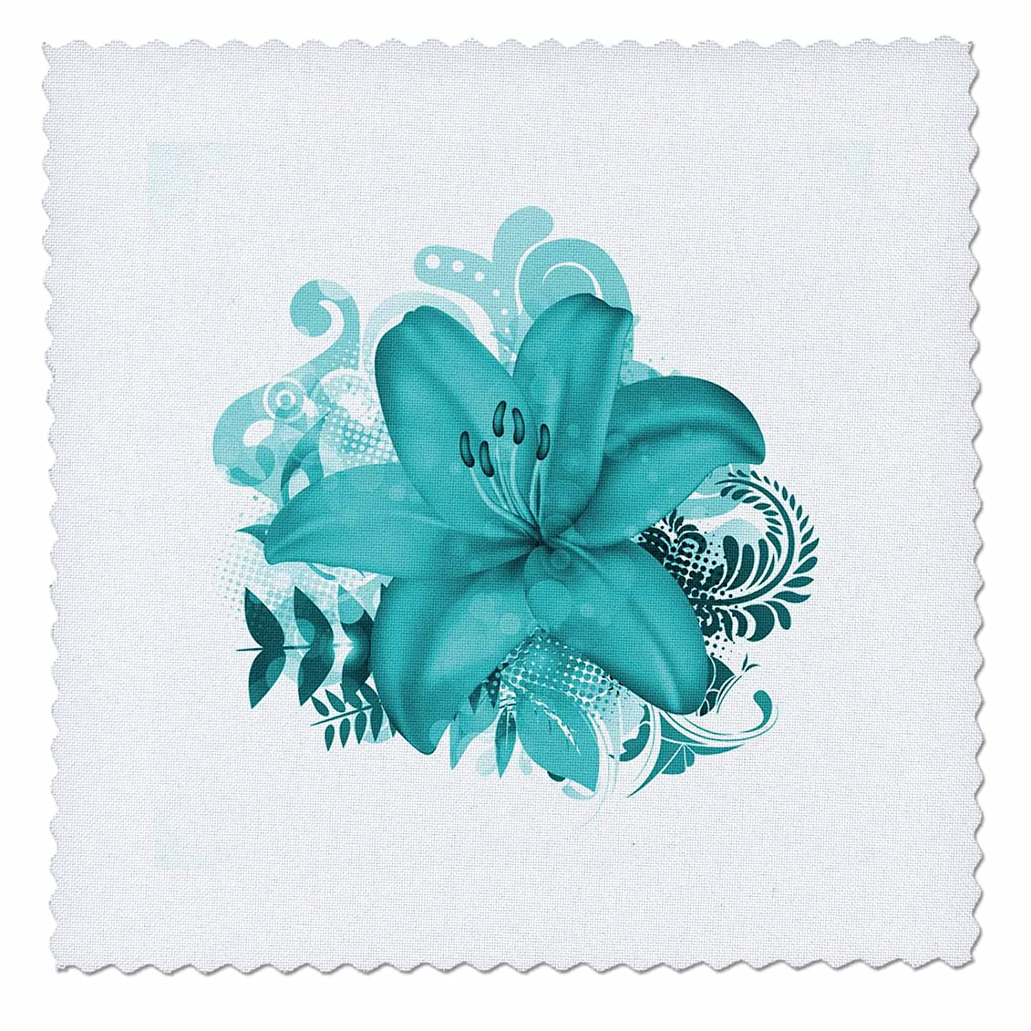 qs/_154553/_5 14 by 14-inch Quilt Square 3dRose Personalized letter M aqua blue quatrefoil pattern Teal turquoise mint monogrammed personal initial