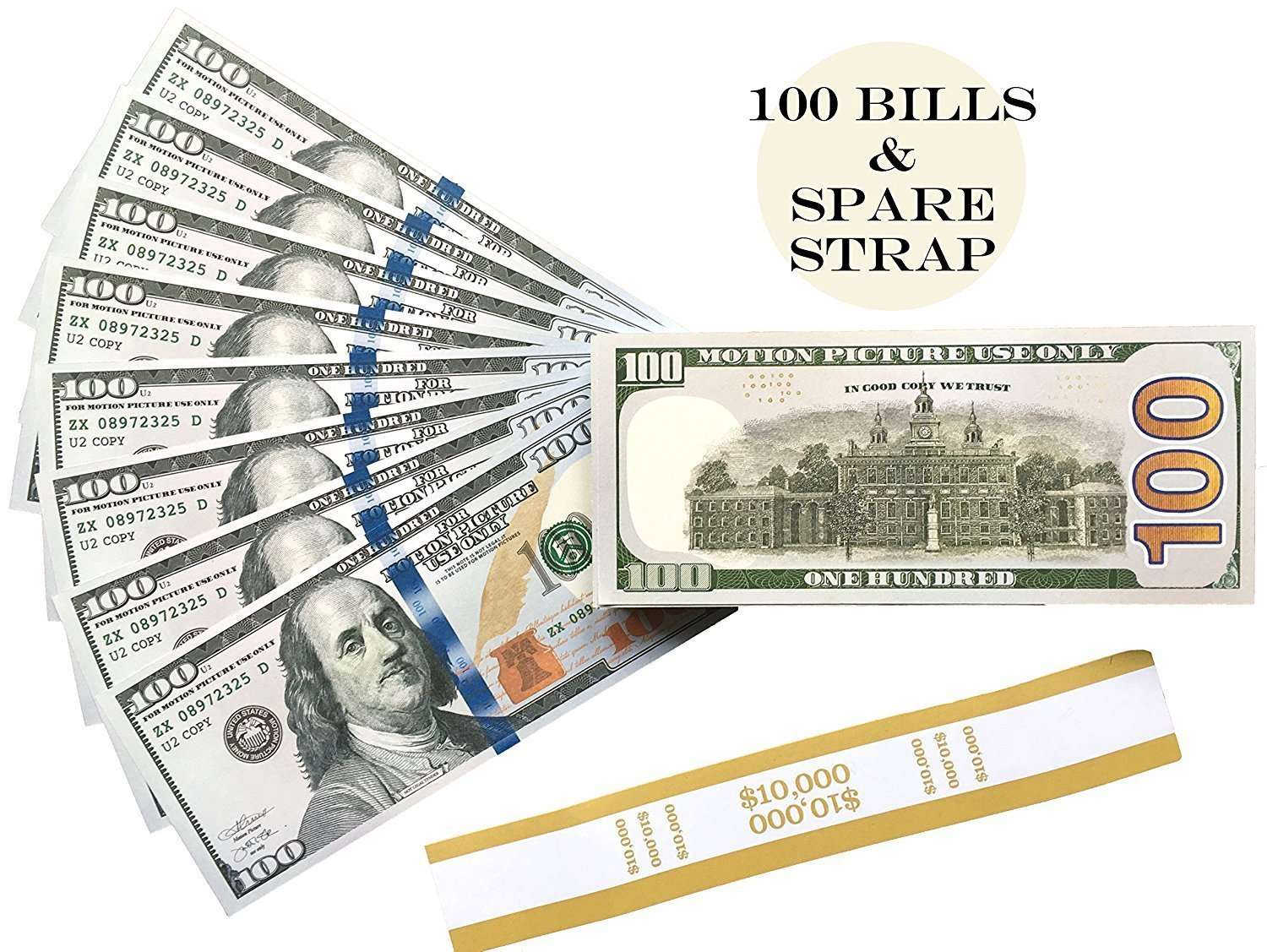Amazon.com: PROP MONEY Realistic Double Sided Fake Copy New Style ...