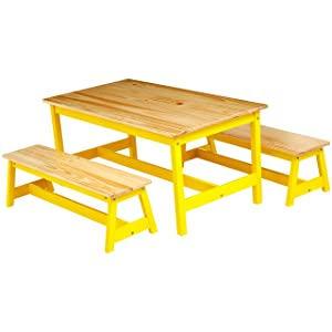 AmazonBasics Indoor Kids Table and Bench Set, Natural