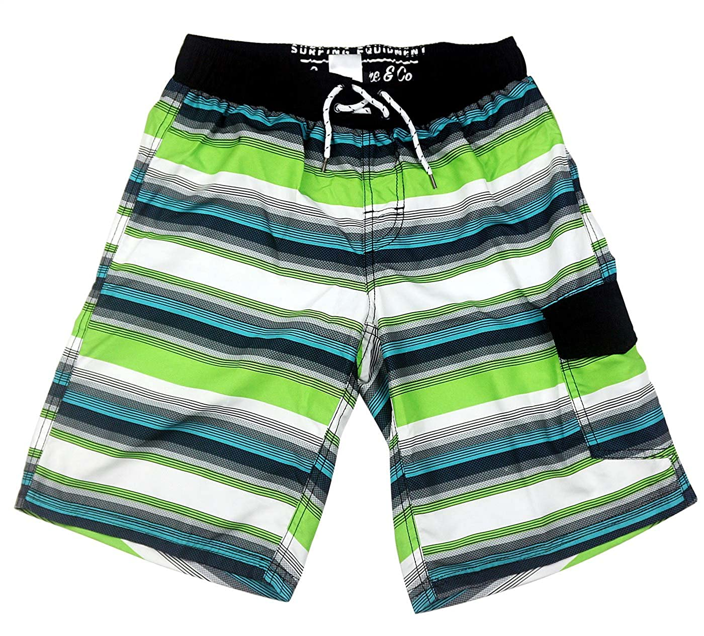 SLGADEN Boys Boardshorts Drawstring Pockets Beach Green Stripe Swim Trunk 7-14T