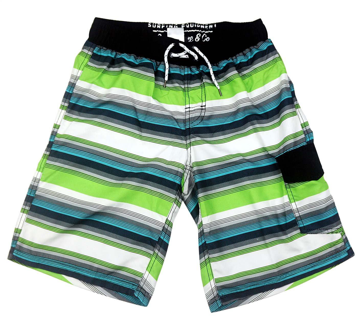 SLGADEN Boys Swim Trunks Elastic Waistband Comfortable Mesh Lined Sun Protection Summer Teens Boxer Trunks 7-8T