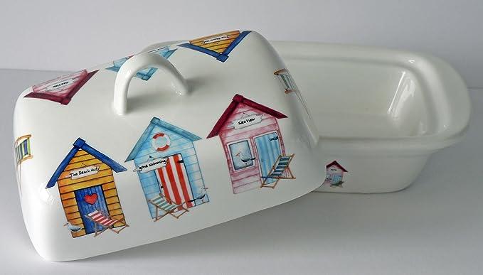 Diseño de caseta de playa patrón mantequilla plato - Fun diseño de casetas de playa en color blanco porcelana mantequera decorada en tapa y lados: ...