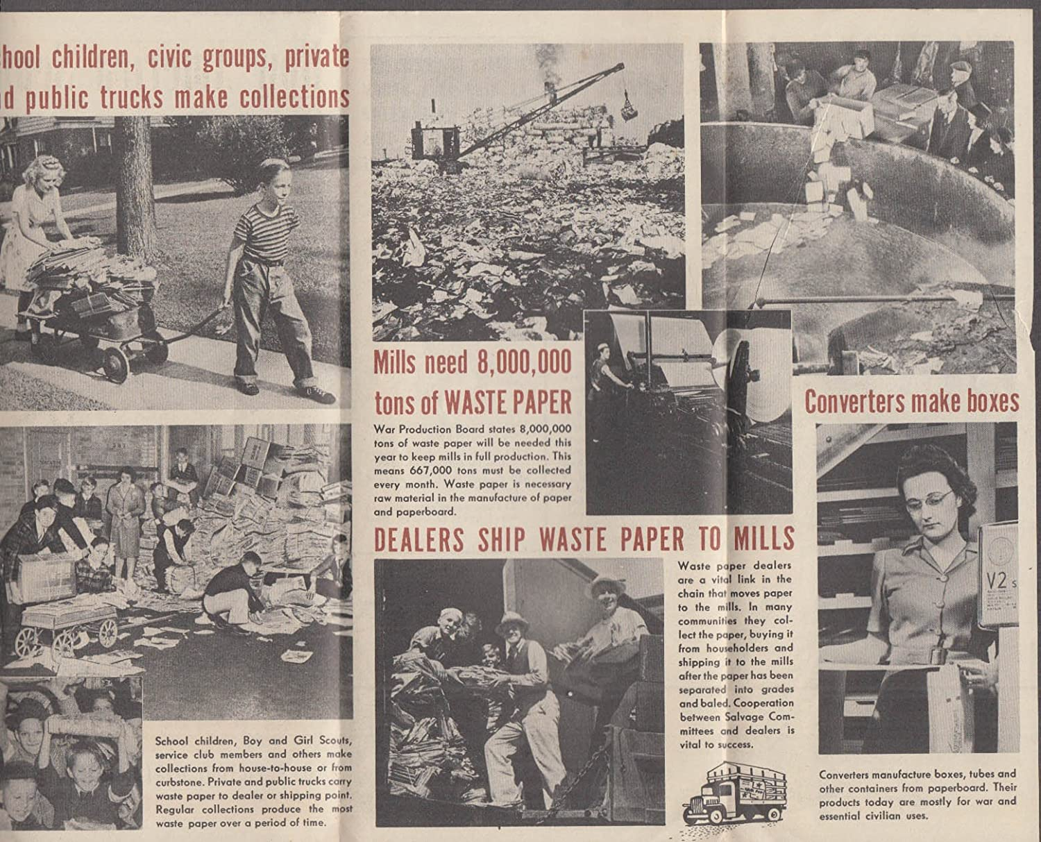 US Victory Waste Paper Campaign folder 1943 home front World