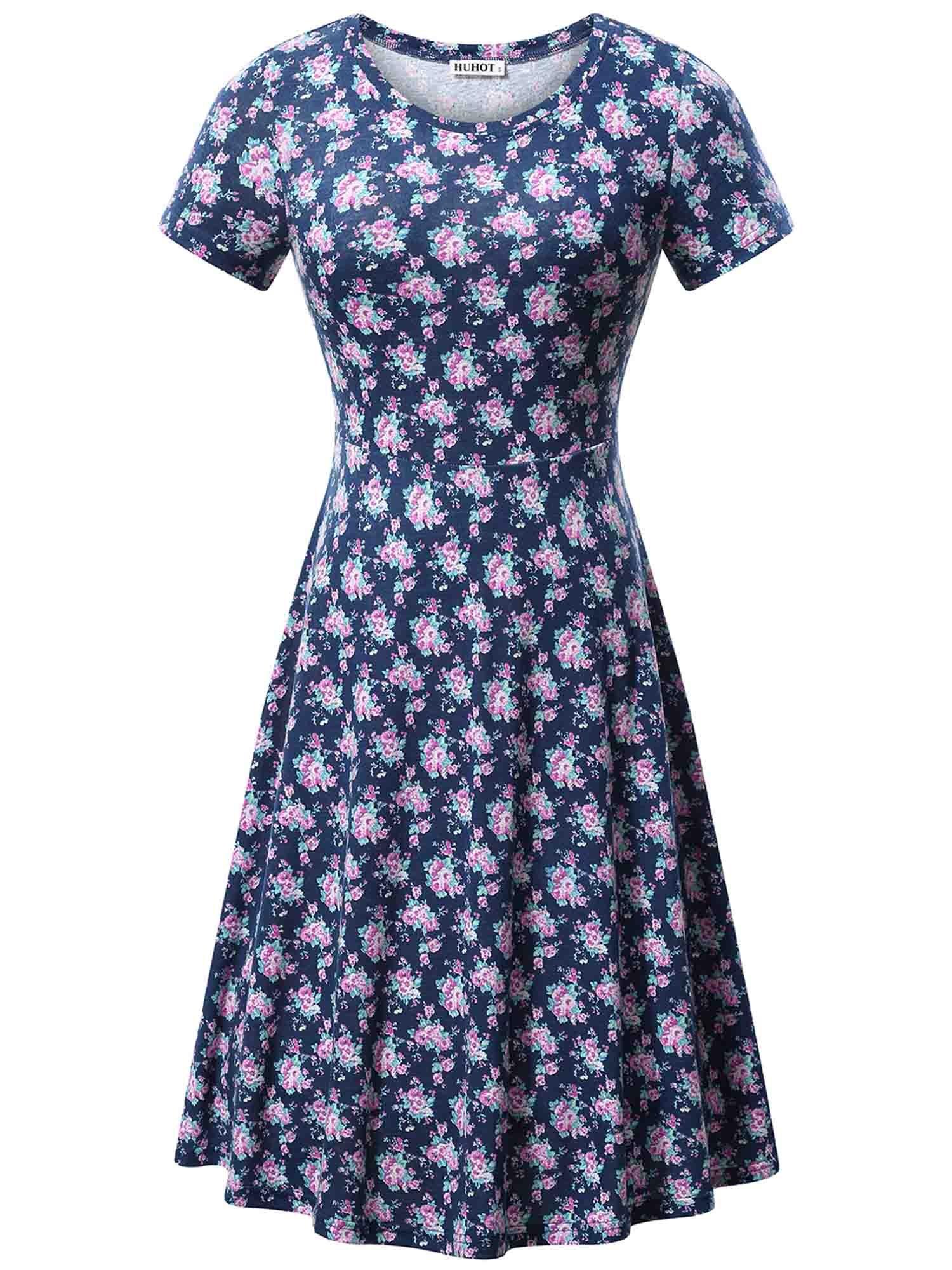 HUHOT Elegant Dresses, Short Sleeve Fit and Flared Modest Midi Dress(Flower46,X-Large)