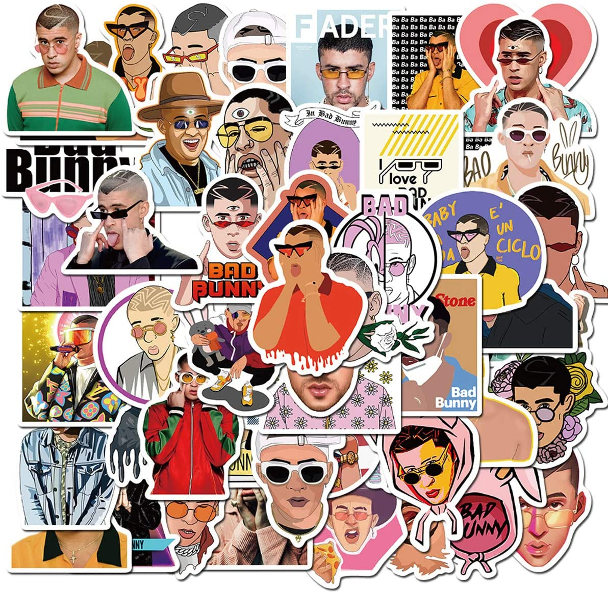 Pop Singer Bad Bunny Stickers 50PCS for Laptop and Water Bottles,Waterproof Durable Trendy Vinyl Laptop Decal Stickers Pack for Teens, Water Bottles, Computer, Travel Case (Bad Bunny)