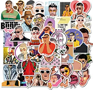 Pop Singer Bad Bunny Stickers 50Pcs Variety Vinyl Waterproof Car Sticker Motorcycle Bicycle Luggage Decal Graffiti Patches Skateboard Stickers for Teens
