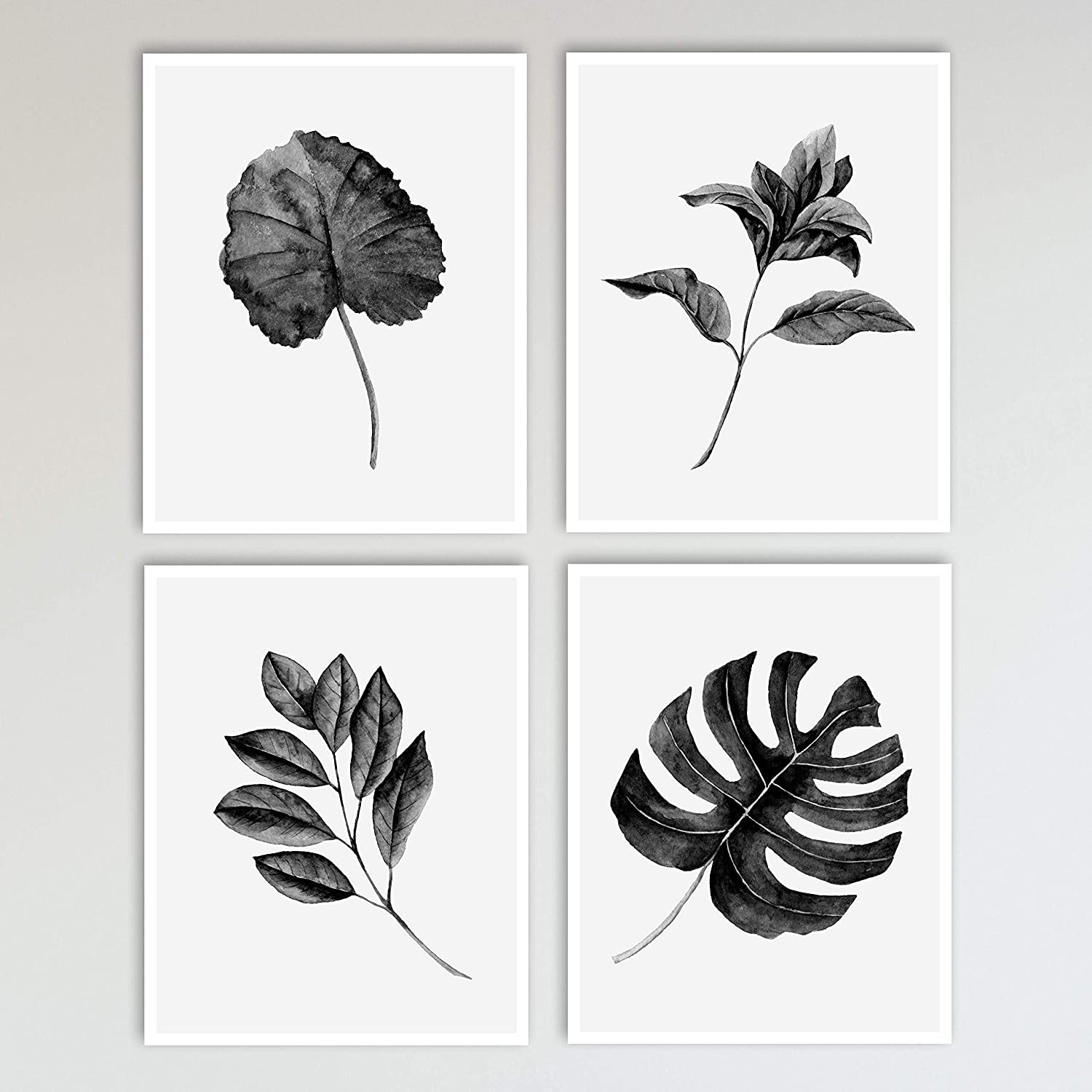 Amazon Com Tropical Leaves Botanicals Wall Decor Art Prints 4 Piece Set Black And White Boho Leaf Print 8 X 10 Inches Each Unframed Handmade Black and white jungle landscape silhouette animation loop. tropical leaves botanicals wall decor art prints 4 piece set black and white boho leaf print 8 x 10 inches each unframed