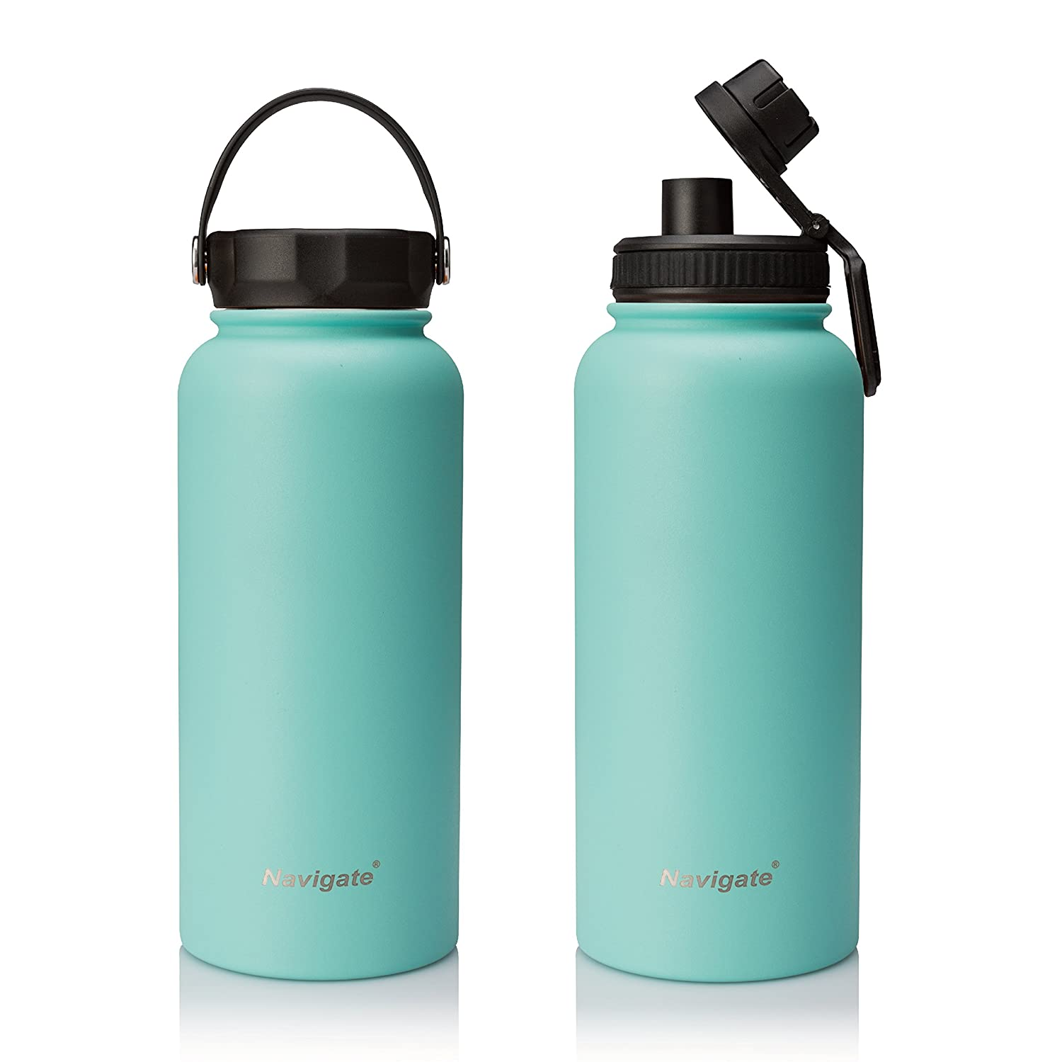 NAVIGATE 32oz Wide Mouth Stainless Steel Water Bottle with Bonus Lid, Double Walled Vacuum Insulated Travel Sports Flask Thermos |Keep Drink Stay Cold & Hot,BPA Free, Leak Proof