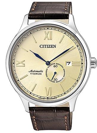 Citizen Reloj Analogico para Hombre de Mecánico con Correa en Cuero NJ0090-13P: Amazon.es: Relojes