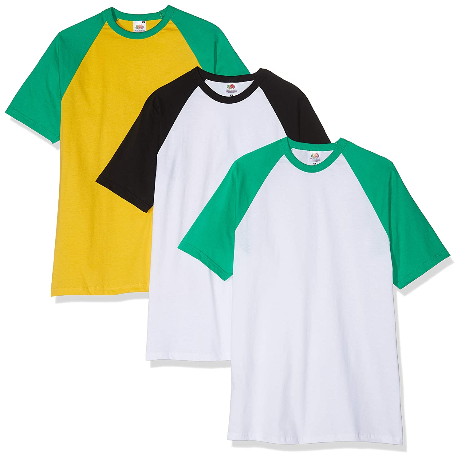 3-Pack Or 5-Pack Fruit of the Loom Men/'s 100/% Cotton Contrast Ringer T-Shirt New