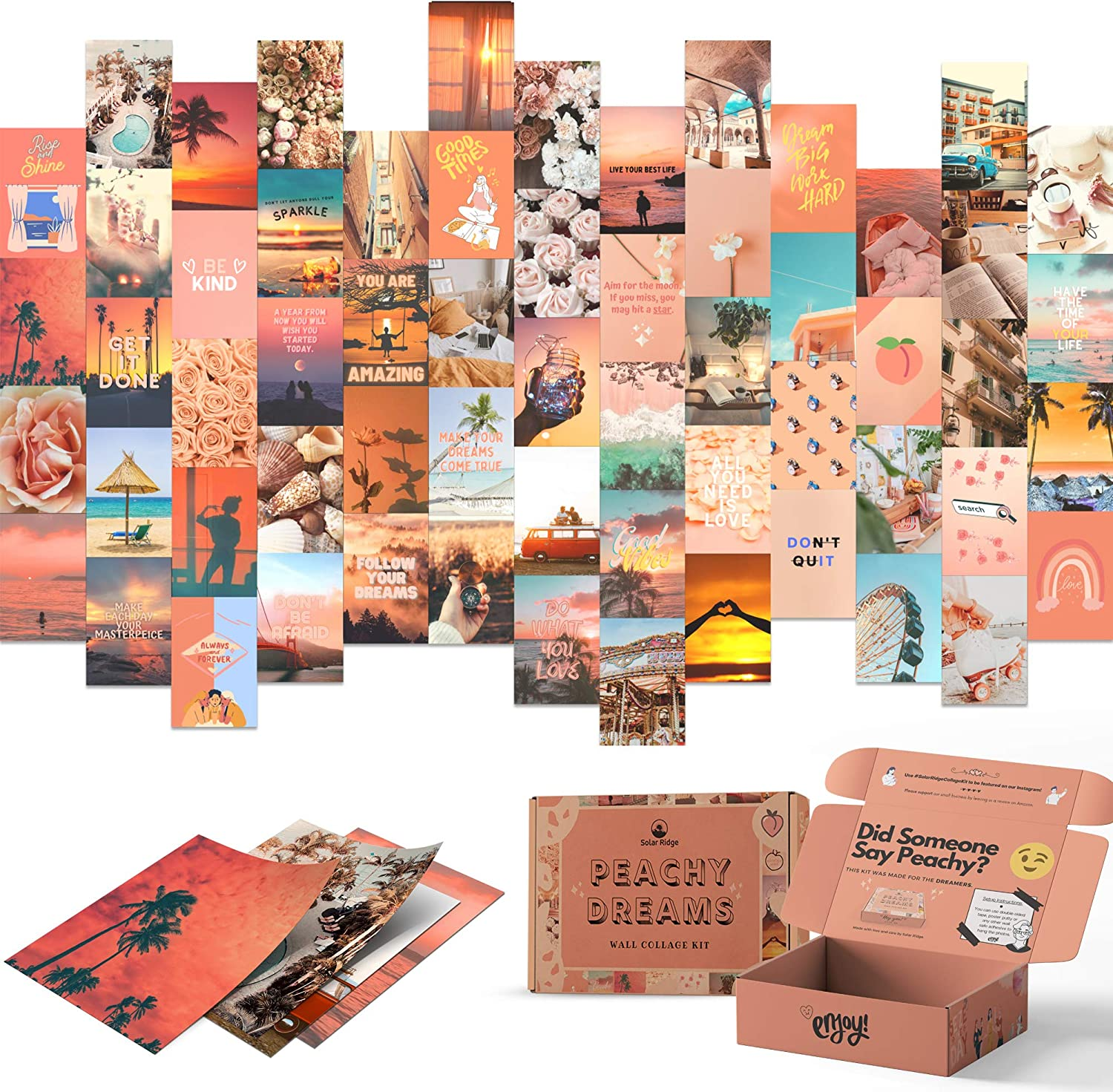 Peachy Dreams Wall Collage Kit Aesthetic Pictures 60 Set for Teen Girls Bedroom Dorm Room Decor Photo Collection 4x6 inch Orange Beach Boho Teens Wall Art Soft Pink Aesthetic Collage Posters