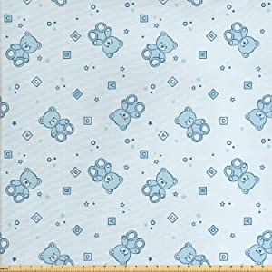 Ambesonne Nursery Fabric by The Yard, Teddy Bears and Toys with Letters on Children Imagery Baby Blue Background, Decorative Fabric for Upholstery and Home Accents, 2 Yards, Blue Aqua