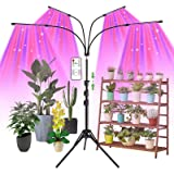 Grow Light with Stand, AMBOR Floor Grow Lights for Indoor Plants, Adjustable 120W Red Blue Spectrum Plant Grow Lamp with Time
