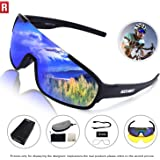 ROCKNIGHT REVO Sports Sunglasses for Men Women with 2 Interchangeable Lenses Cycling Running Driving Baseball Glasses UV Protection