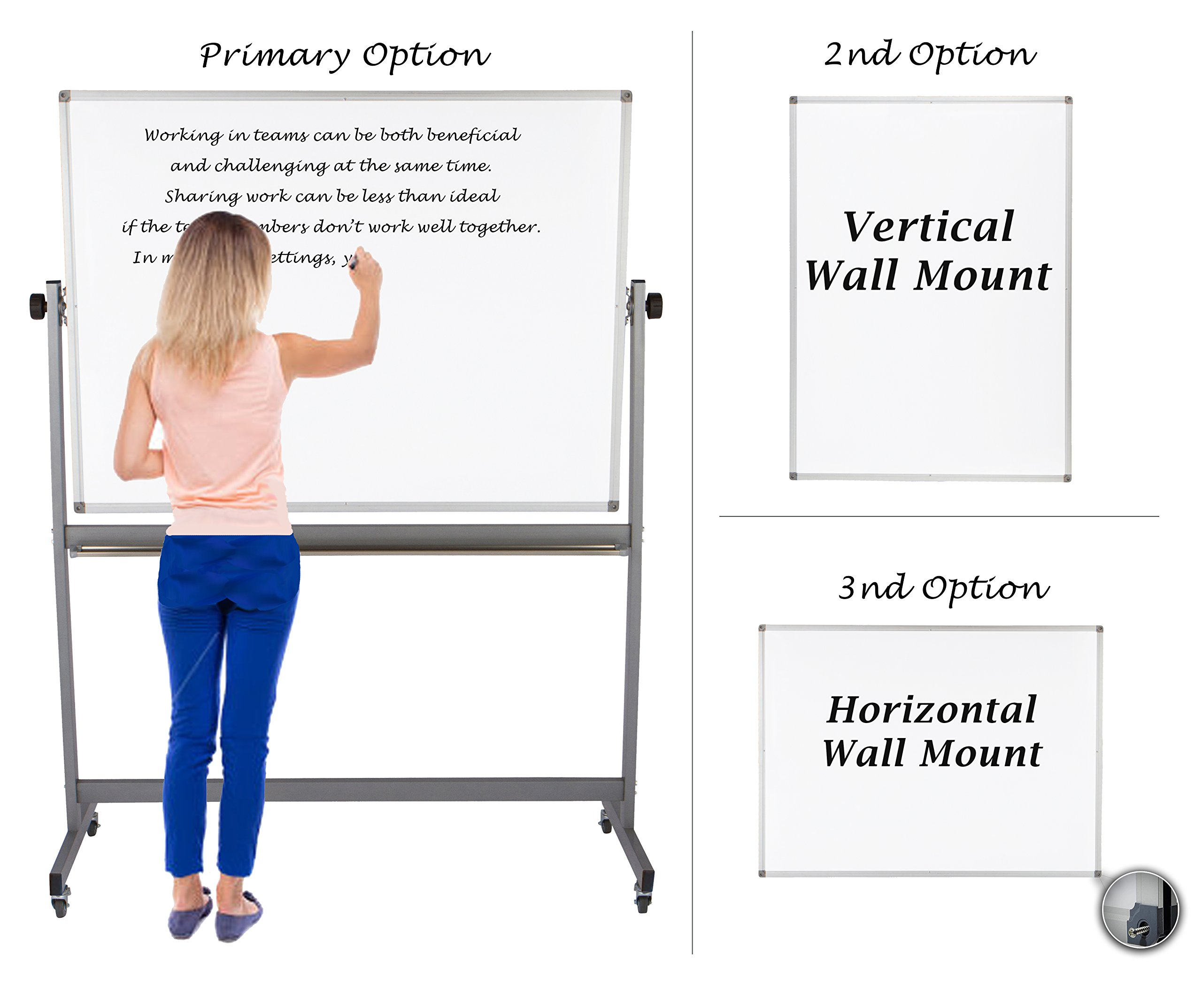 "Magnetic Mobile Whiteboard Large On Stand Double Sided Flip Over Dry Erase Reversible Portable Home Office Classroom Board 36 x 48"" Inch with 4 Markers 12 Magnets Eraser and Ruler Easel Aluminum Frame by Dapper Display (Image #5)"