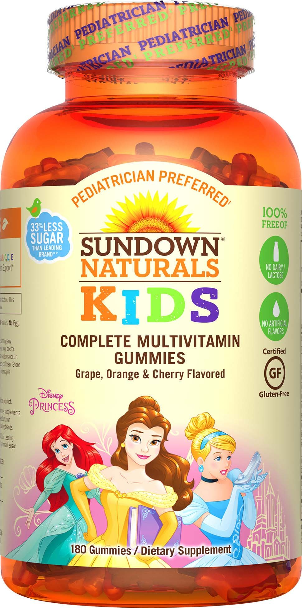Sundown Naturals Kids Disney Princess Complete Multivitamin, 180 Count