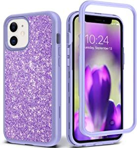 Coolwee Glitter Full Protective Case Compatible with iPhone 12, Compatible with iPhone 12 Pro Heavy Duty Hybrid 3 in 1 Rugged Shockproof Women Girls Light Purple for Apple iPhone 12 Pro 6.1 inch