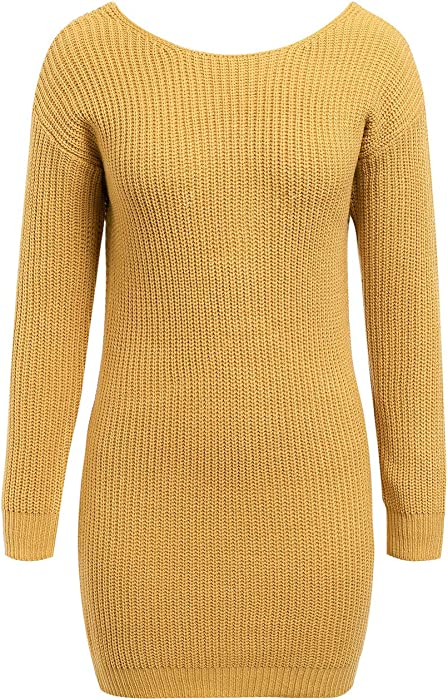 cbd0a6d4dfae Simplee Women s Fall Winter Sweater Long Sleeve Knot Knit Dresses Mini (One  Size