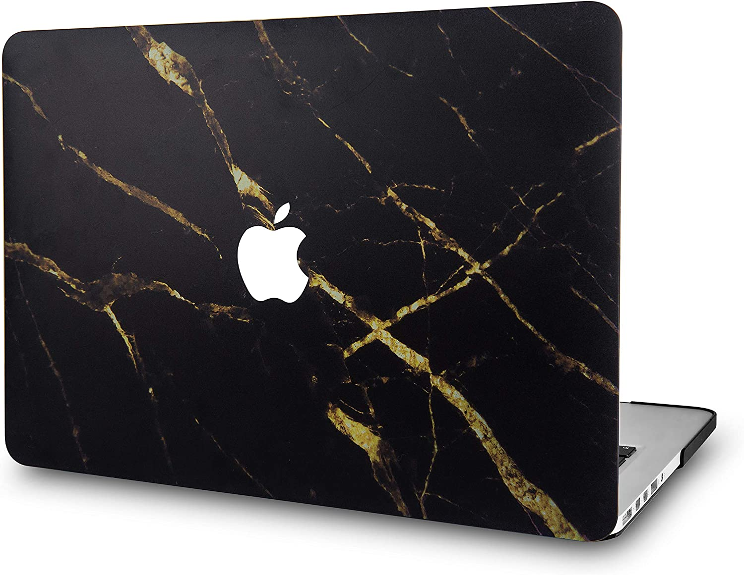 LuvCase Laptop Case for MacBook Air 13 Inch (2020/2019/2018) A2179/A1932 Retina Display (Touch ID) Rubberized Plastic Hard Shell Cover (Black Gold Marble)