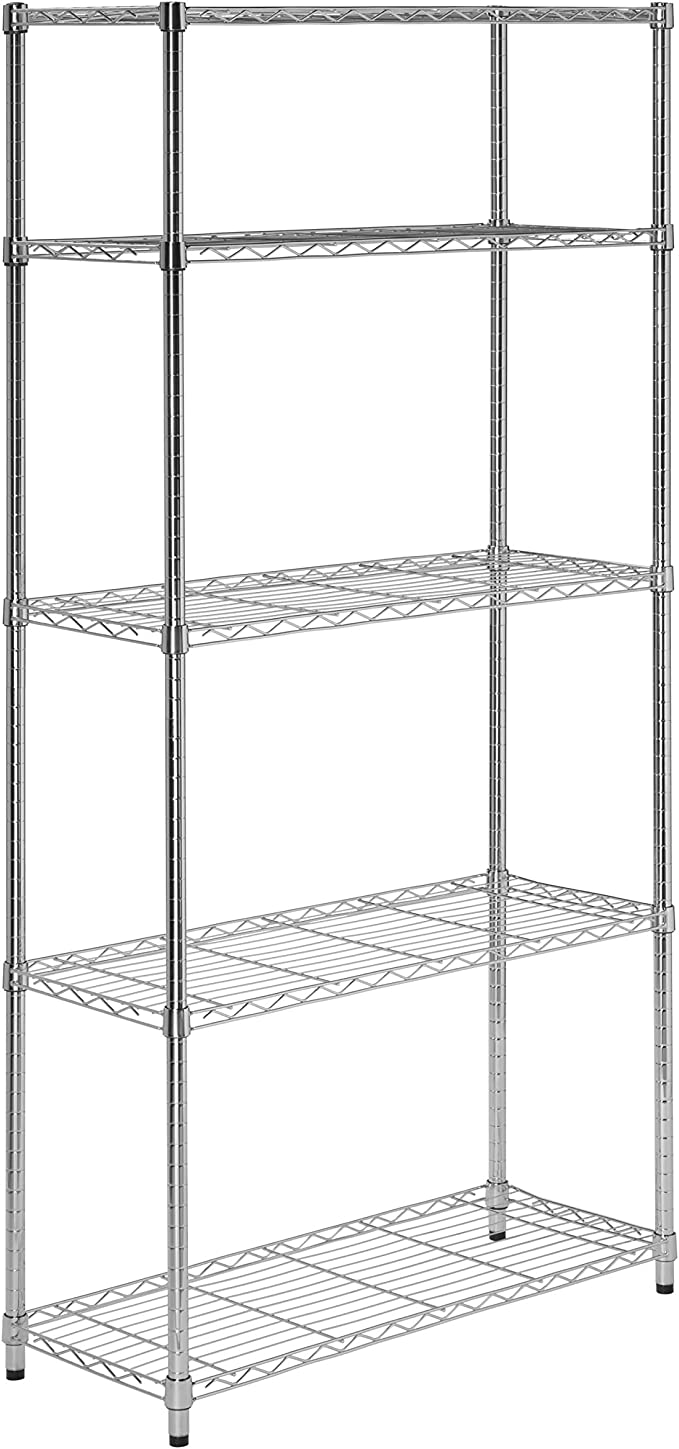 5 Tier Chrome Heavy Duty Adjustable Shelving Unit With 200 Lb Per Shelf Weight Capacity Home Kitchen Amazon Com