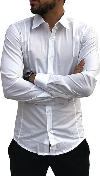 CAMICIE & dintorni Camisa Slim Fit Elegante Made in Italy Talla M L XL XXL Manga Larga Hombre Algodón Elástico Blanco o Negro - Eje de Corazones Bianco L: Amazon.es: Ropa y