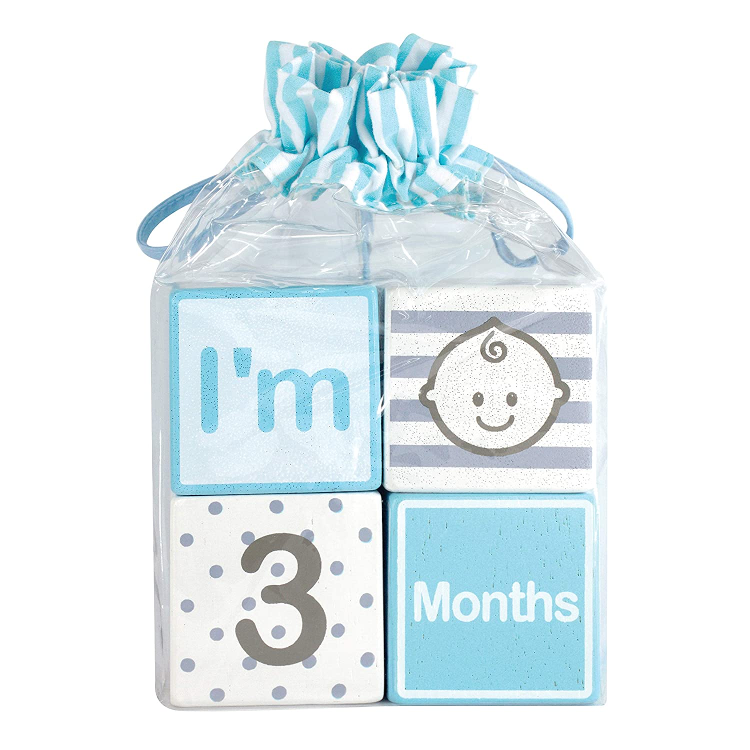 I m Solid Wood Monthly Baby Milestone Age Blocks, Newborn Gifts Keepsakes for Picture Props 4 Pcs Blue