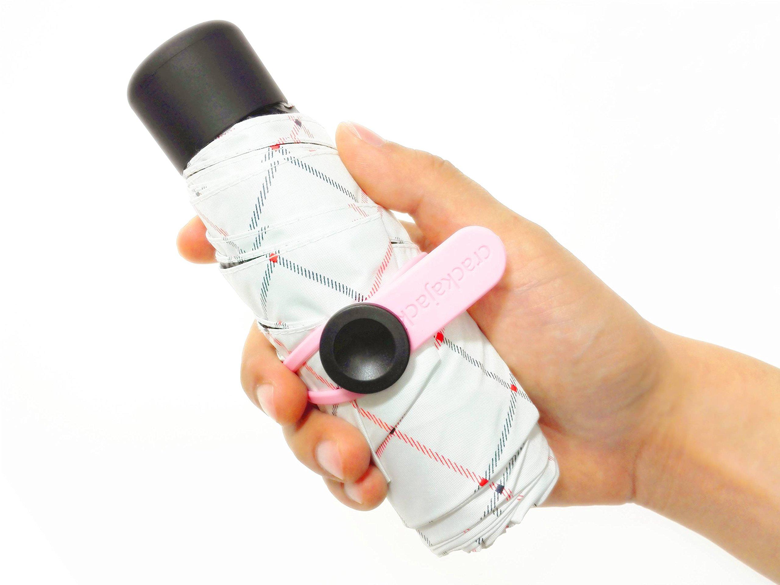 crackajack Ultra Light(7.4oz), Ultra Mini(6.7in), Ultra Protective(95% UV Resistance), Ultra Cool(6 Elaborate Details) Tiny Sun Blocker Umbrella! (black and red lines)