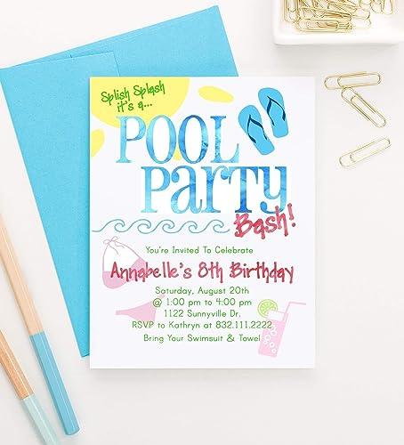 Pool Party Invitation Pool Party Invite Pool Party