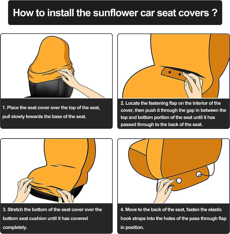 BQTQ 16 Pcs Sunflower Car Accessories with 2 Pcs Car Front Seat Covers 1 Pc Steering Wheel Cover 2 Pcs Seat Belt 2 Pcs Coaster 2 Pcs Keyrings 1 Pc Lanyard 2 Pcs Vent Decor 2 Pack Fragrance Cotton Pad: Automotive