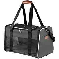 Akinerri Airline Approved Pet Carriers,Soft Sided Collapsible Pet Travel Carrier for Medium Puppy and Cats (Large, Brown)