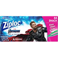 Ziploc Snack Bags, Easy Open Tabs, 66 Count- Design may vary