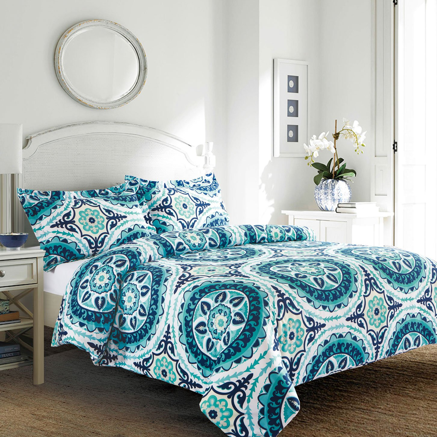 pin white bedding reversible quilt gold hallways cover teal green daisy double set duvet floral adele elton