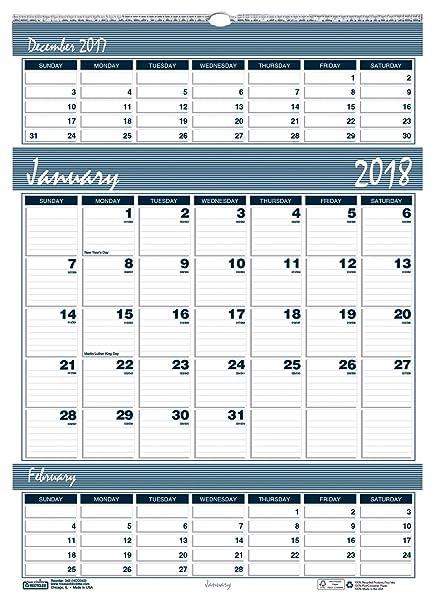 House Of Doolittle 2018 Three Month Wall Calendar Bar