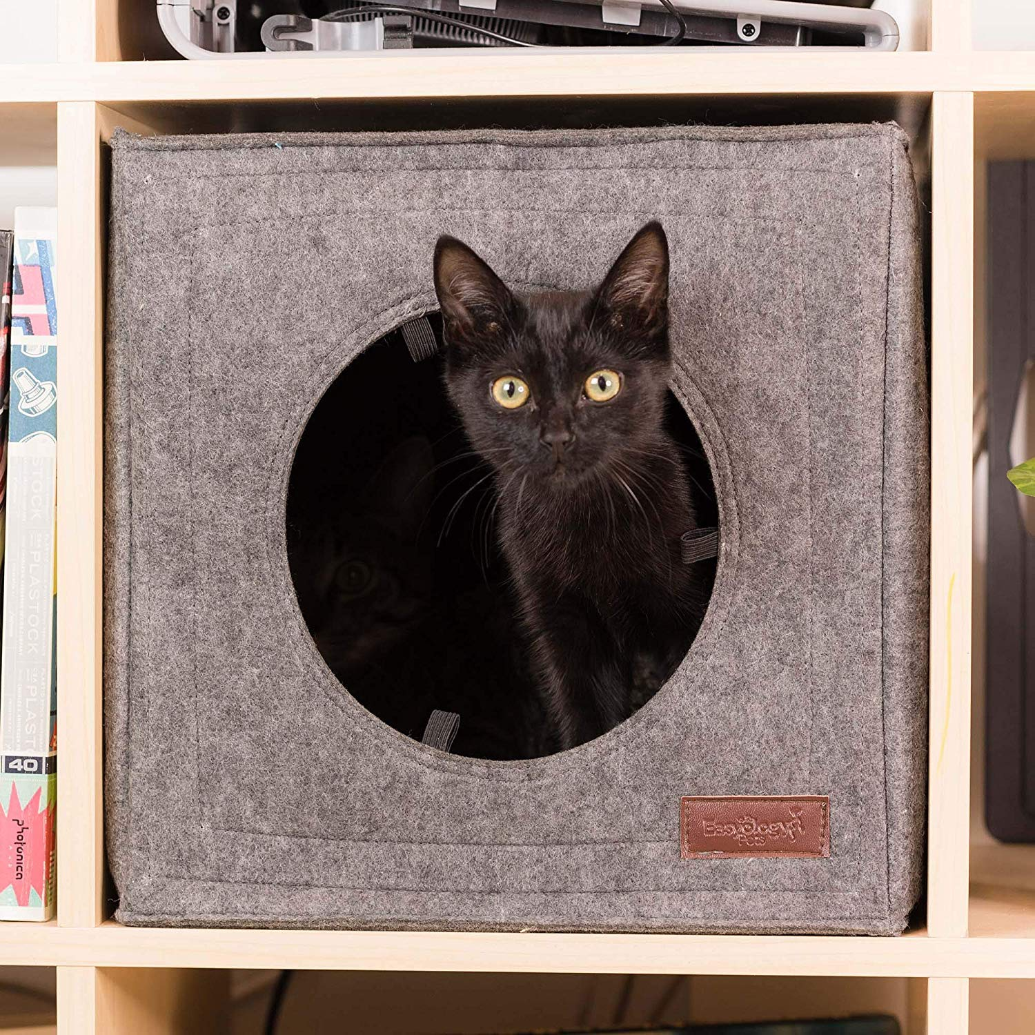 Thick Felt Cat Cave for IKEA Shelf - Cat Bed with Pillow & Reinforced Top - Easy Travel Cat Cube is Machine Washable - Foldable Cat Houses for Indoor Cats (Gray) by Easyology