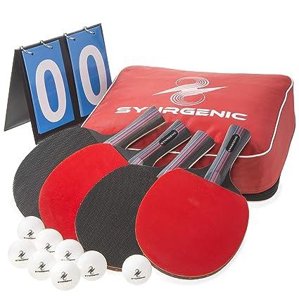 Amazon.com: Juego de paletas de tenis de mesa sinténica – 4 ...