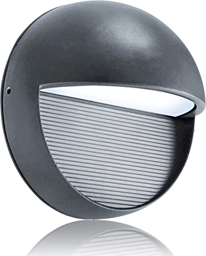 Lightess Outdoor Wall Sconces Waterproof Grey Exterior LED Wall Light Bulkhead Lights Fixture Round Shape Aluminum Alloy, 3W Cold White, OLB-O2