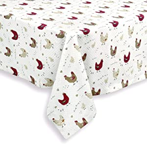 Cackleberry Home Farmhouse Chicken Cotton Fabric Tablecloth, 60 Round