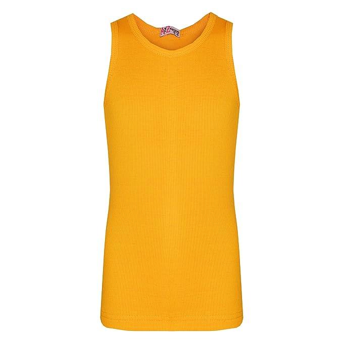 ba3e2ed52ea09 A2Z 4 Kids® Kids Girls Ribbed Stylish Vest Top 100% Cotton - Vest Mustard