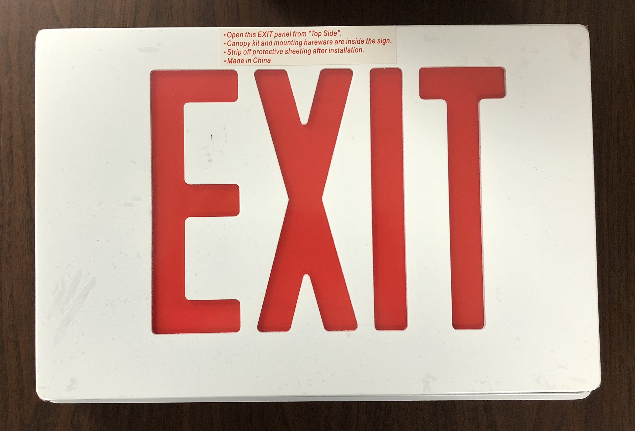 Globe Lighting White 12.75'' Wide Die Cast Aluminum Double or Single Sided Red LED Indoor Exit sign with Battery Backup Pack Built In 100102REMDW