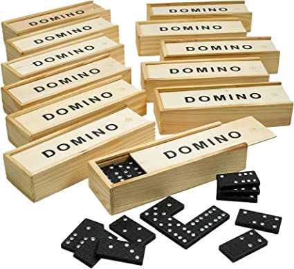 Educational Toy Dominoes for Kids and Toddlers Hand-painted Wooden Dominoes Set