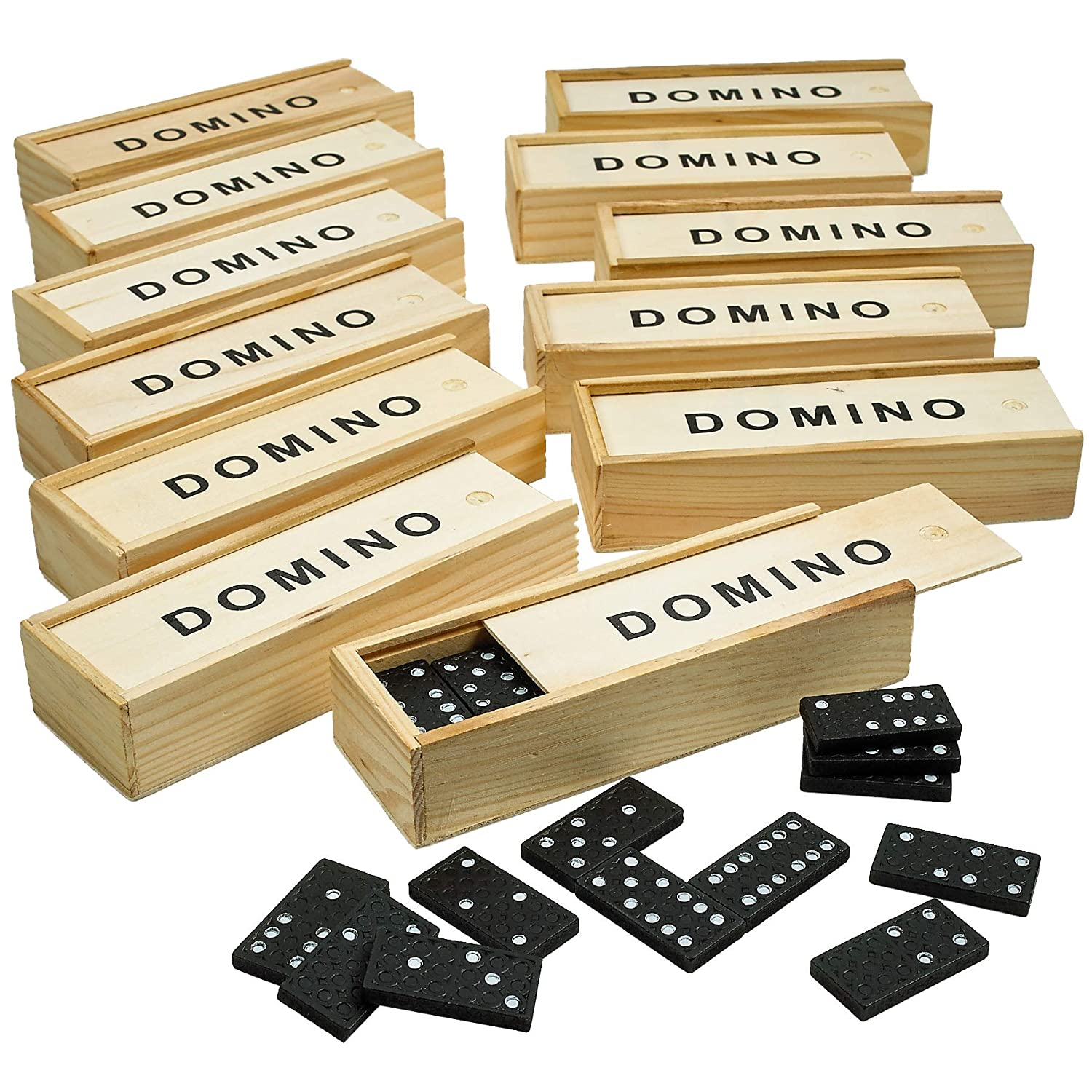 Wooden Dominoes Set Pack of 12 Classic Board Games Building Blocks Educational Toys Game Tiles Leisure Time Perfect for Toddler and Adult