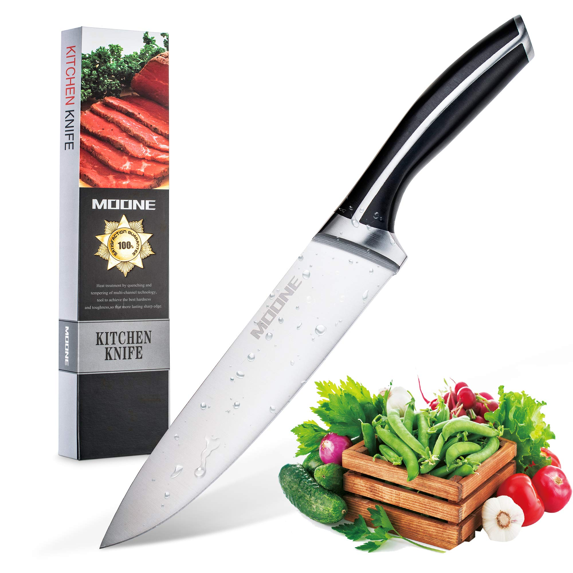 Moone 8 inch kitchen Chef's Knife Sharp Blade Ergonomic Handle High Carbon Stainless Steel Utility Knives