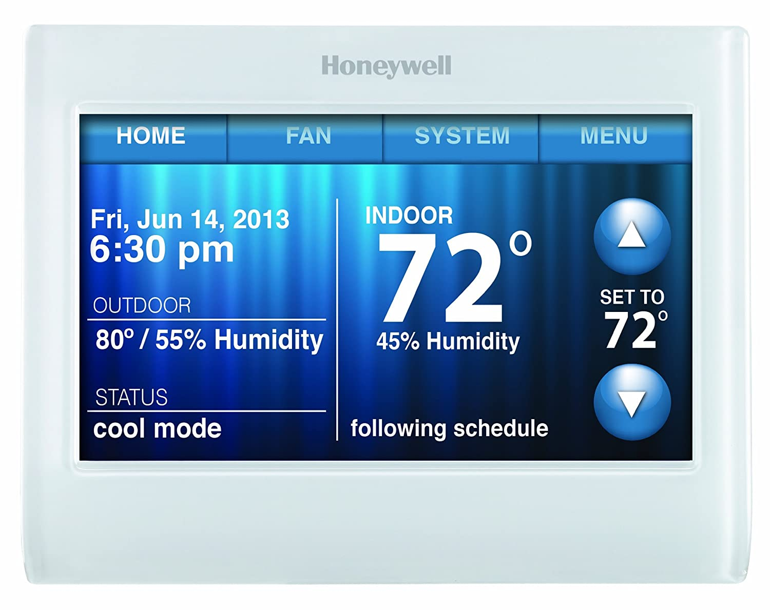 """Honeywell TH9320WF5003 Wi-Fi 9000 Color Touch Screen Programmable Thermostat, 3.5 x 4.5 Inch, White, 'Requires C Wire"""" (Certified Refurbished)"""