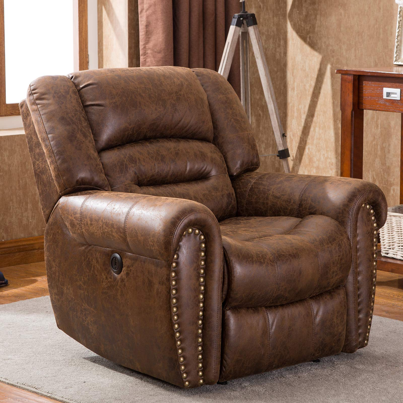 ANJ Electric Recliner Chair W/Breathable Bonded Leather, Classic Single Sofa Home Theater Recliner Seating W/USB Port, Nut Brown by ANJ