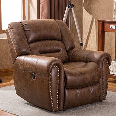 Terrific Anj Electric Recliner Chair W Breathable Bonded Leather Classic Single Sofa Home Theater Recliner Seating W Usb Port Nut Brown Inzonedesignstudio Interior Chair Design Inzonedesignstudiocom