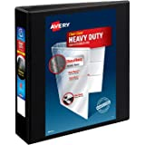 """Avery Heavy-Duty View 3 Ring Binder, 2"""" One Touch Slant Rings, Holds 8.5"""" x 11"""" Paper, 1 Black Binder (05500)"""